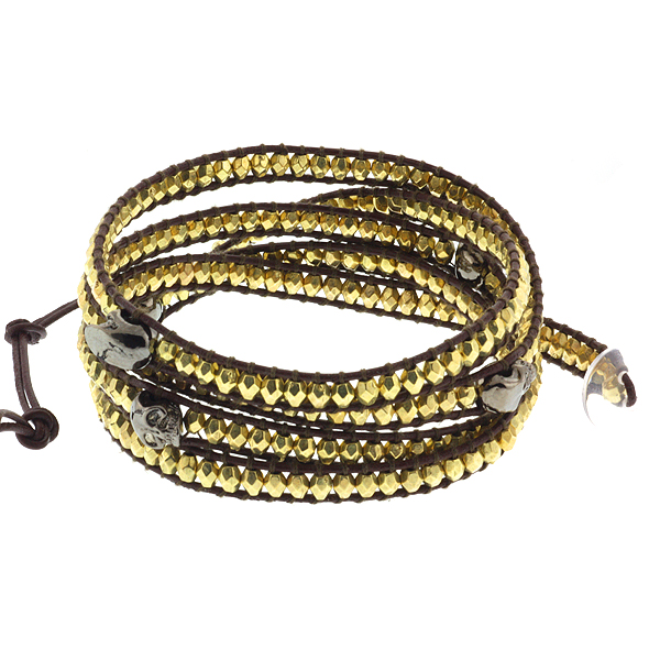 """36"""" Cross Cut Golden Beads and Hematite Skeleton on Brown Leather Wrap Bracelet"""