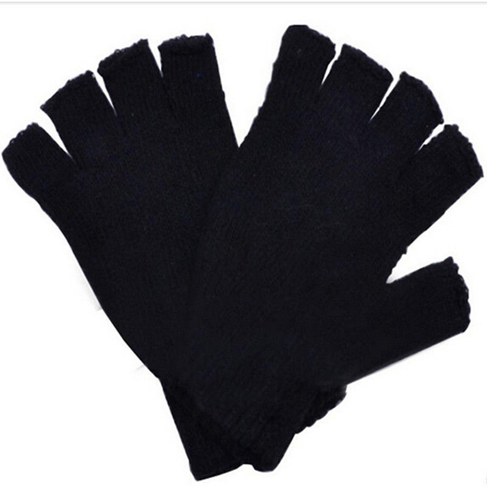 Unisex Plain Basic Fingerless Winter Gloves Black Color:Black