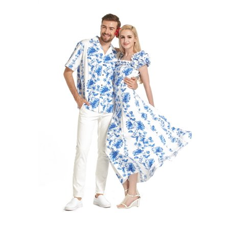 Made in Hawaii Premium Couple Matching Shirt Fluffy Muumuu Dress in Blue Floral in White S-S