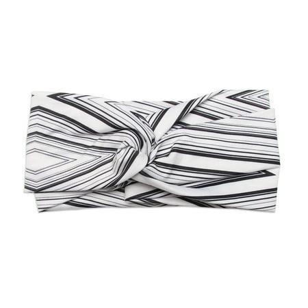 Banded Baby Twist Knot Headwrap Black and White Diamond Stripe Boho Headband Bohemian Chic Hair