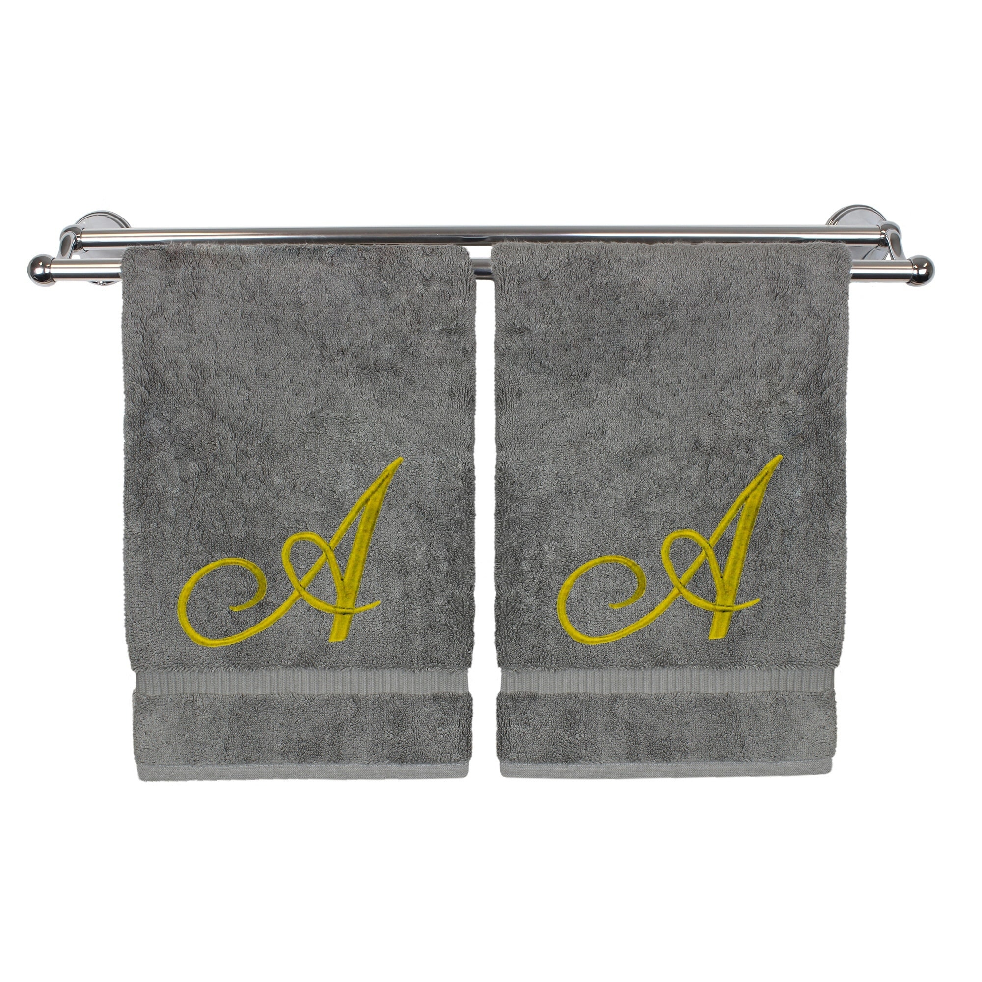 Monogrammed Washcloth Towel, Personalized Gift, 13x13 Inches - Set of 2 - Gold Script Embroidered Towel - Extra Absorbent 100% Turkish Cotton - Soft Terry Finish - Initial A Gray Towels