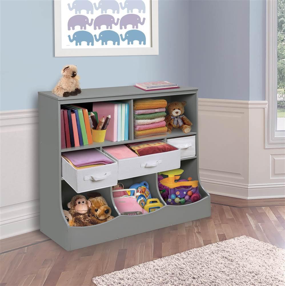 Badger Basket Combo Bin Storage Unit with 3 Baskets, Gray by Badger Basket