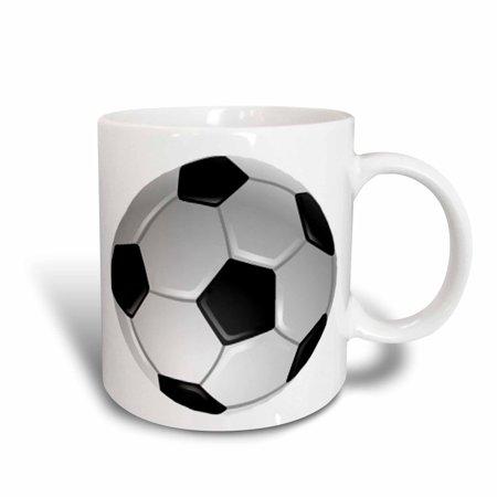 3dRose Soccer Ball, Ceramic Mug, 15-ounce