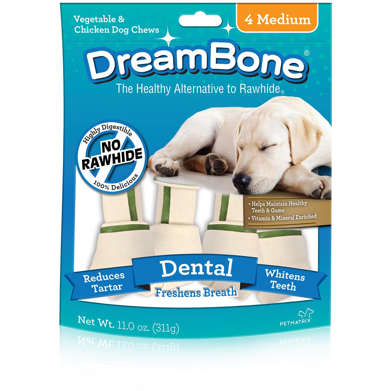 DreamBone Veggie and Chicken Medium Dental Bones, 4-Count