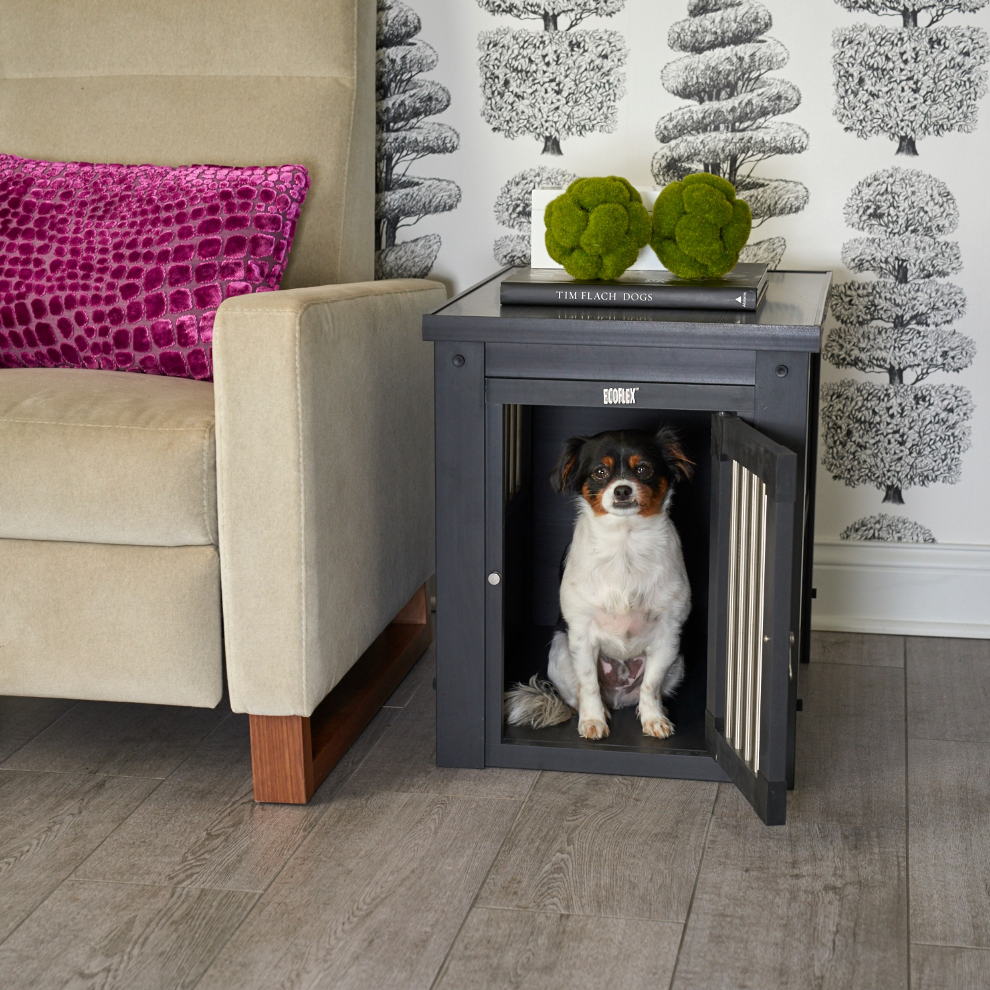 New Age Pet ecoFLEX Dog Crate - End Table with Stainless Steel Spindles, Espresso