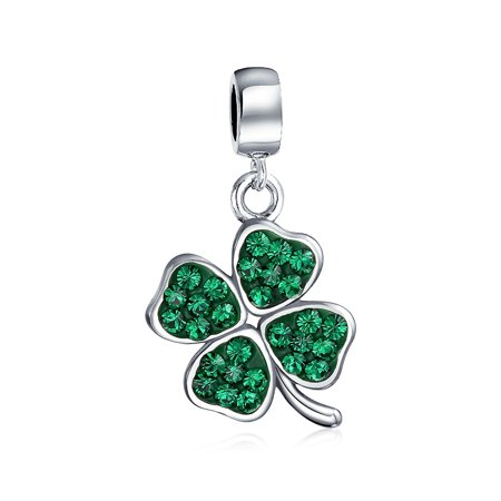 Celtic Lucky Leaf Clover Green Crystal Shamrock Irish Dangle Bead Charm For Women 925 Sterling Silver - Leaf Beads Charms
