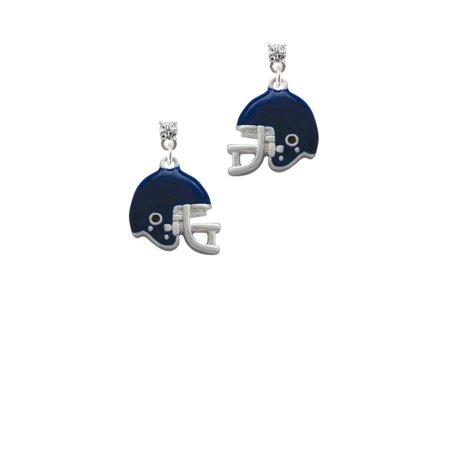 Silvertone Small Blue Football Helmet Clear Crystal Post Earrings