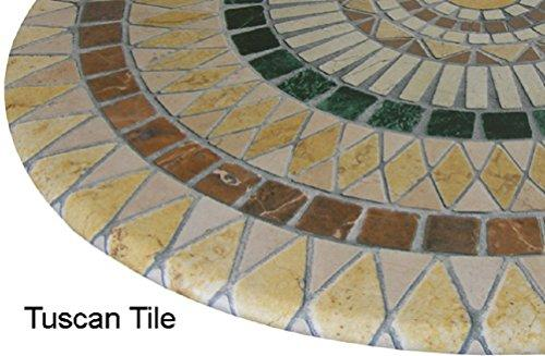 ... Mosaic Table Cloth Round 36 To 48 Elastic Edge Fitted Vinyl Table Cover  Tuscan Tile Pattern