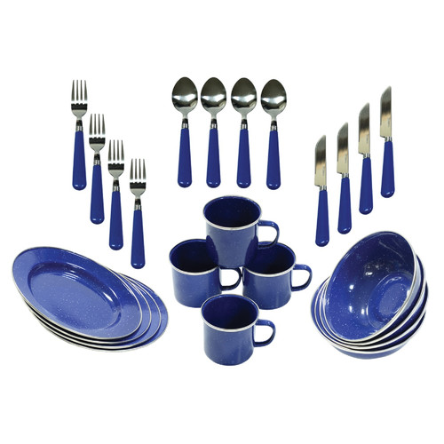 Click here to buy Stansport 11220 Enamel Camping 24-Piece Tableware Set by Stansport, Inc..