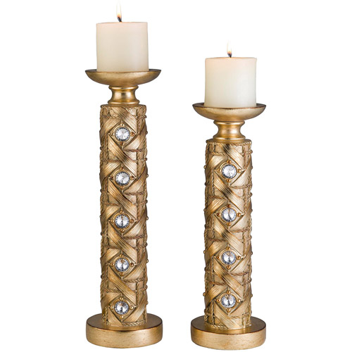 "14""/16"" Gold Mahla Candleholder, Set of 2"