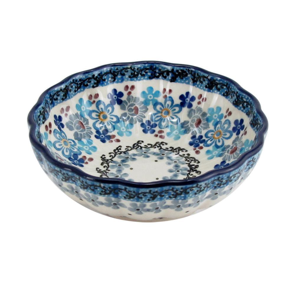 Polish Pottery 4.5'' Fluted Dessert Dish Handmade Boleslawiec StoNeware Pattern Blue... by