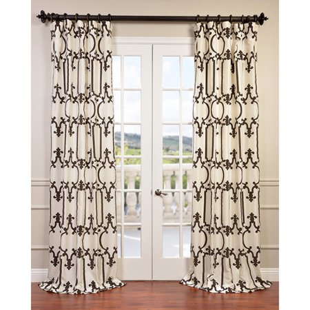 Half Price Drapes Royal Gate Flocked Taffeta Semi-Opaque Single Curtain - Ivory Taffeta Pickup