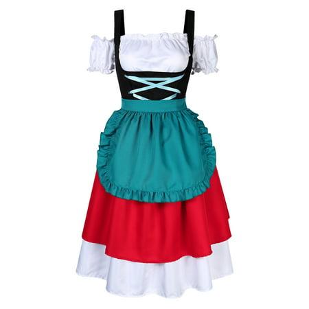 Oktober Fest Dress (3-Piece Short German Wear Party Oktoberfest Waitress)