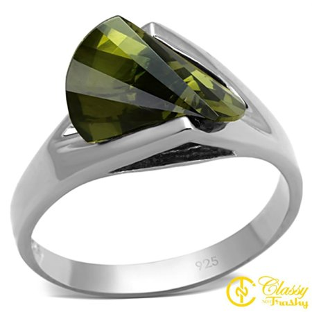 Classy Not Trashy® Size 10 Women's Sterling Silver Sideway Trilliant Ring with Green - Trilliant Light