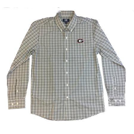(Cutter and Buck Georgia Bulldogs Gilman Plaid Long Sleeve Dress Shirt)