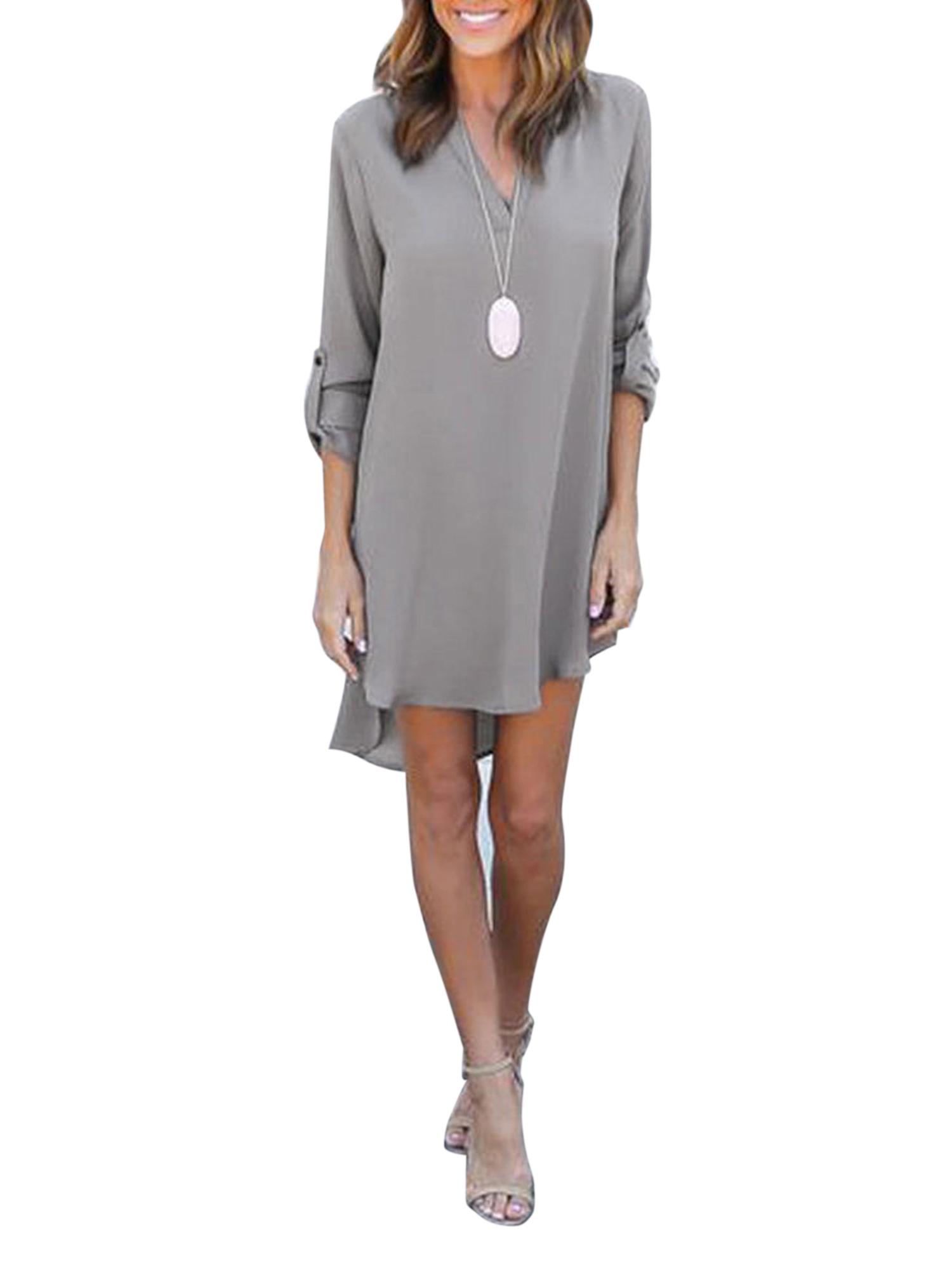 Plus Women Chiffon Shirt Dress Summer V Neck Blouse Loose Casual Tunic...