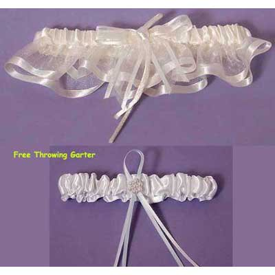 Ivory Bridal Garters - Simple Elegant Bridal Garter Set (White or Ivory)