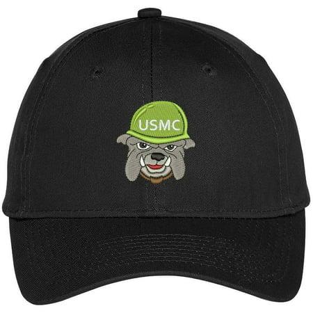 Trendy Apparel Shop USMC Bulldog Pup Embroidered Snapback Adjustable Baseball Cap - Black Black Ink Usmc Bulldog