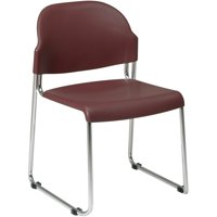 2-Pack Stack Chair with Plastic Seat and Back, Burgundy