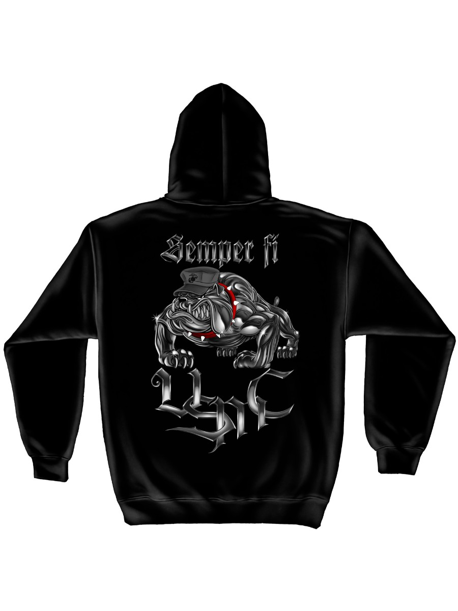 Black Military Hoodie USMC Graphic Bulldog Pullover Hooded Sweatshirt Black Ink