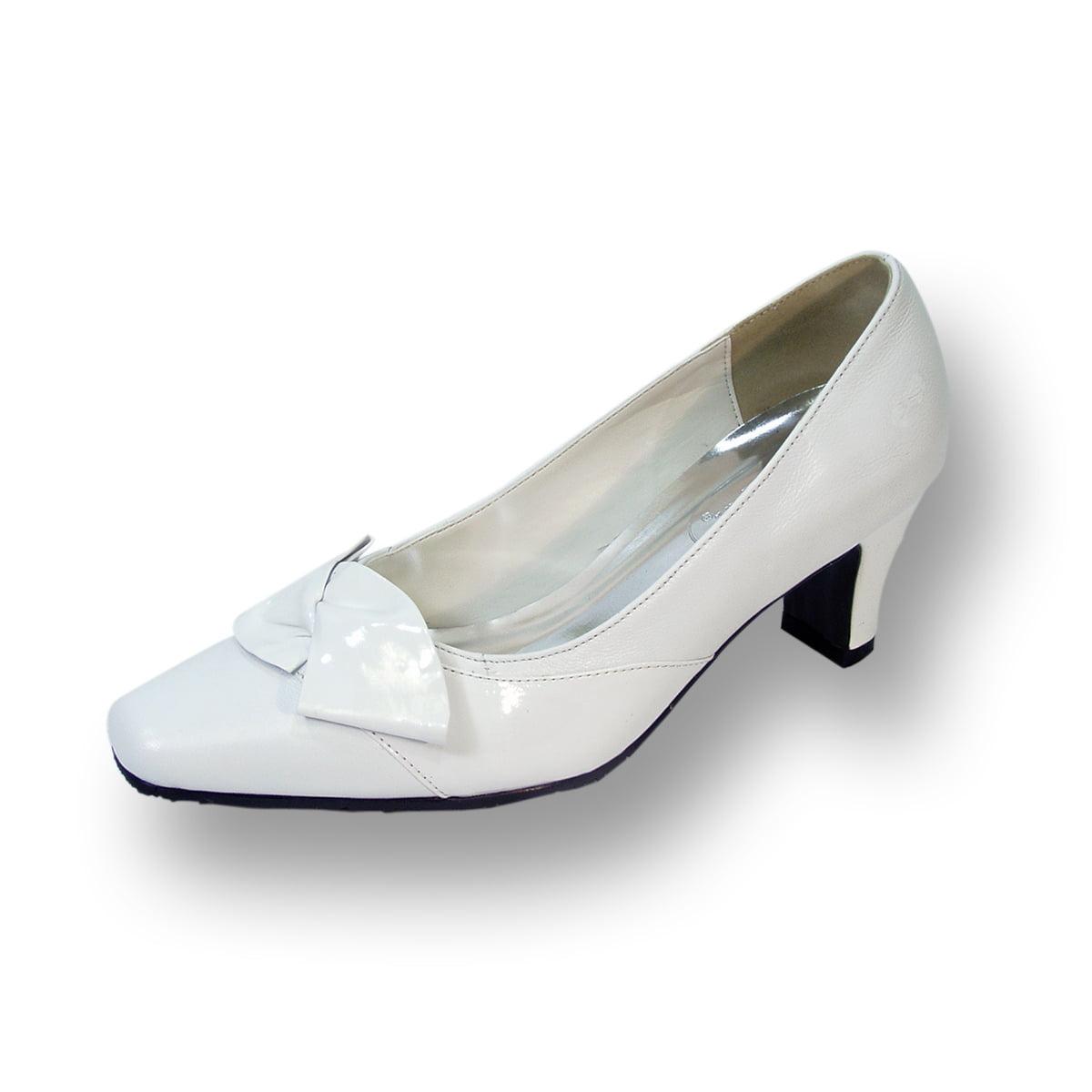 Peerage Lori Women Wide Width Leather Dress Pump White 10