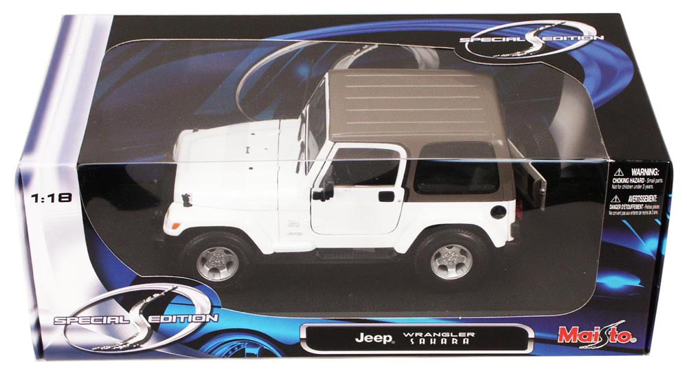 Jeep Wrangler Sahara, White Maisto 31662 1 18 Scale Diecast Model Toy Car by Maisto