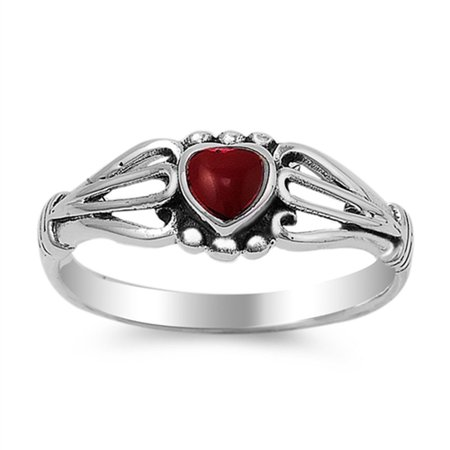 Two Hearts One Love Ring (Simulated Ruby Heart Loop Cutout Love Ring New .925 Sterling Silver Band Size)