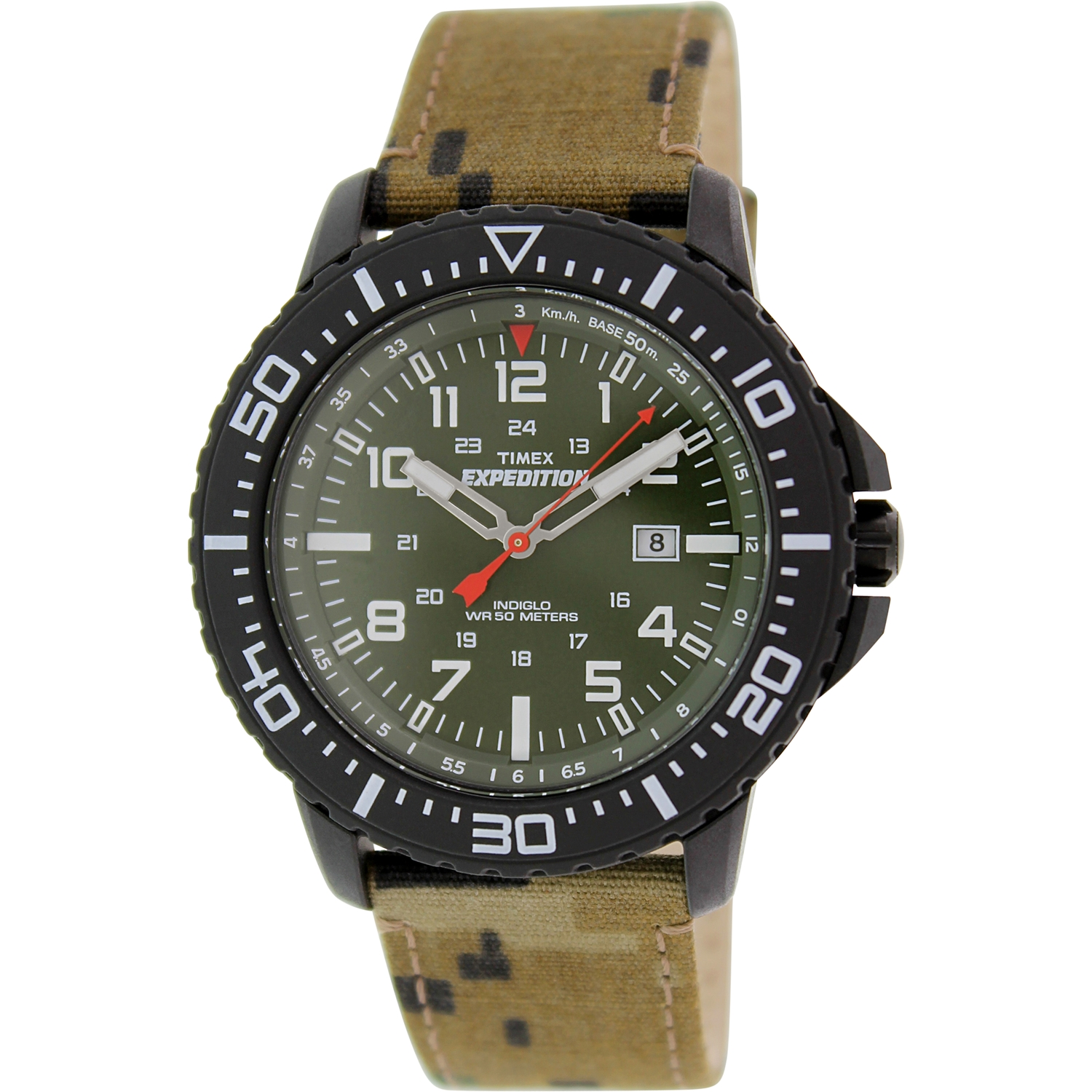 Timex Men's Expedition T49965 Green Leather Analog Quartz Watch