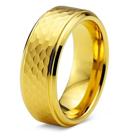 Tungsten Wedding Band Ring 8mm for Men Women Comfort Fit Hammerd 18K Yellow Gold Plated Step Beveled Edge Brushed Polished Lifetime Guarantee