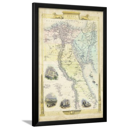 Rapkin Print (Vintage Map of Egypt Framed Print Wall Art By J.)