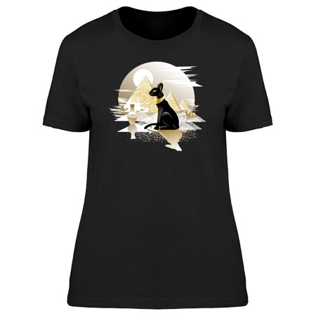 Egyptian Black Cat Landscape Tee Women's -Image by