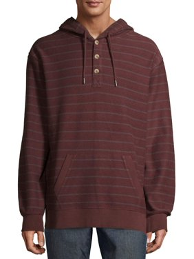 George Men's and Big Men's Stripe Pullover French Terry Hoodie, up to Size 5XL