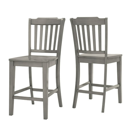 Oak Counter Height Side Chair - Weston Home Farmhouse Vintage Slat Back Solid Wood Counter Height Chair, Set of 2, Multiple Finishes
