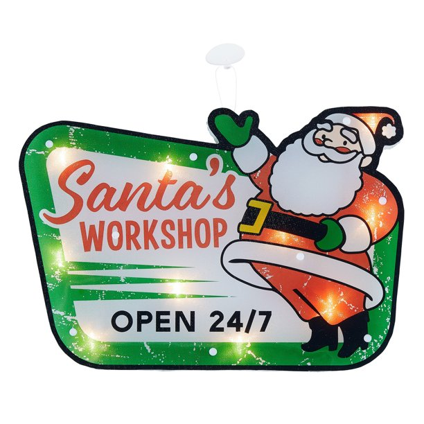 Holiday Time Lighted Santa S Workshop Hanging Sign Christmas Decoration 16 Multi Colored Walmart Com Walmart Com