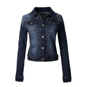 MixMatchy Women's Classic Casual Vintage Blue Stone Washed Denim Jean Jacket