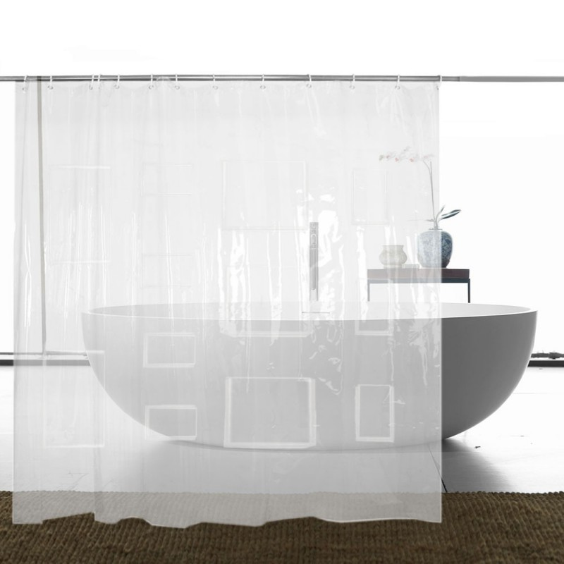 "Pockets EVA Storage Clear Shower Curtain Liner Tablet or Phone Holder Waterproof 8 Gauge 72""x72"""
