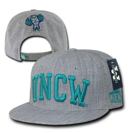 Flat Bill Baseball - Gray UNCW UNC Wilmington Seahawks NCAA Flat Bill Snapback Baseball Ball Hat Cap