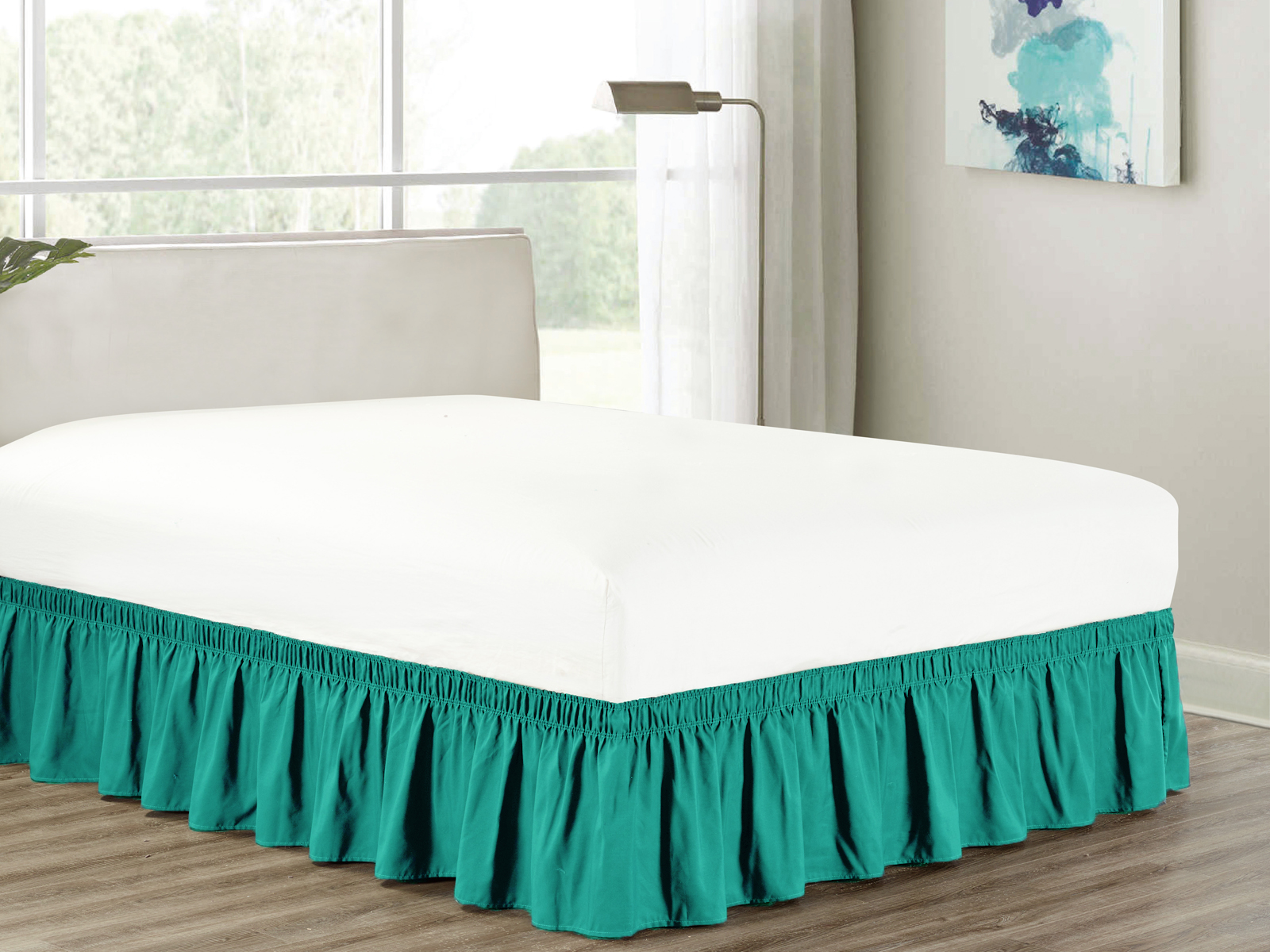 """Heavy Duty Elastic Wrap-Around 18"""" Drop Dust Ruffled Bedskirt Cover Teal Blue-Green... by HG station"""
