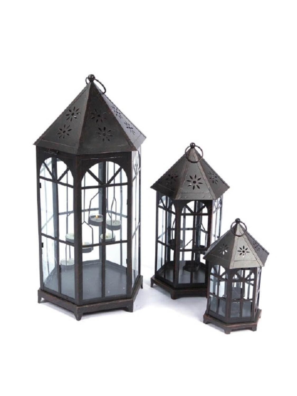 Set of 3 black metal and glass decorative tea light candle lanterns set of 3 black metal and glass decorative tea light candle lanterns 24 walmart workwithnaturefo