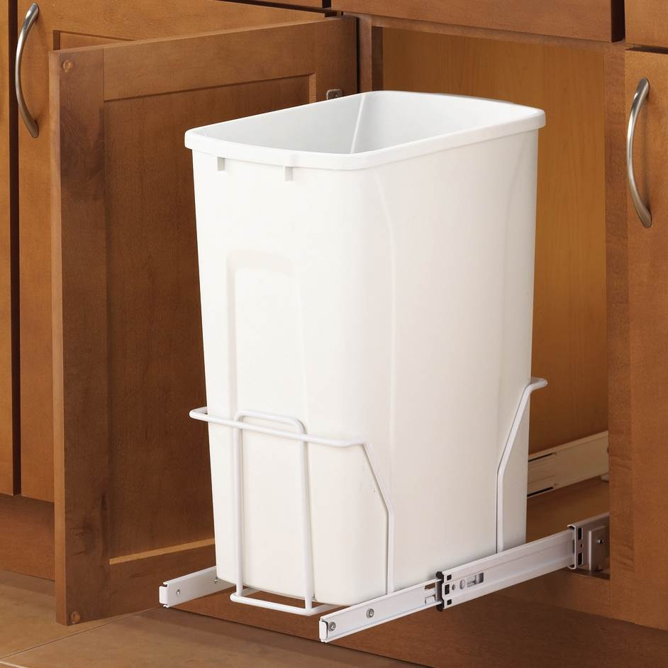 Slide-Out Waste & Recycling Bin/Non-Lidded in White