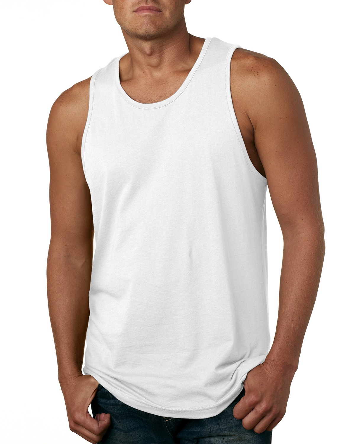 Branded Next Level Mens Cotton Tank Top - WHITE - M (Instant Saving 5% & more)