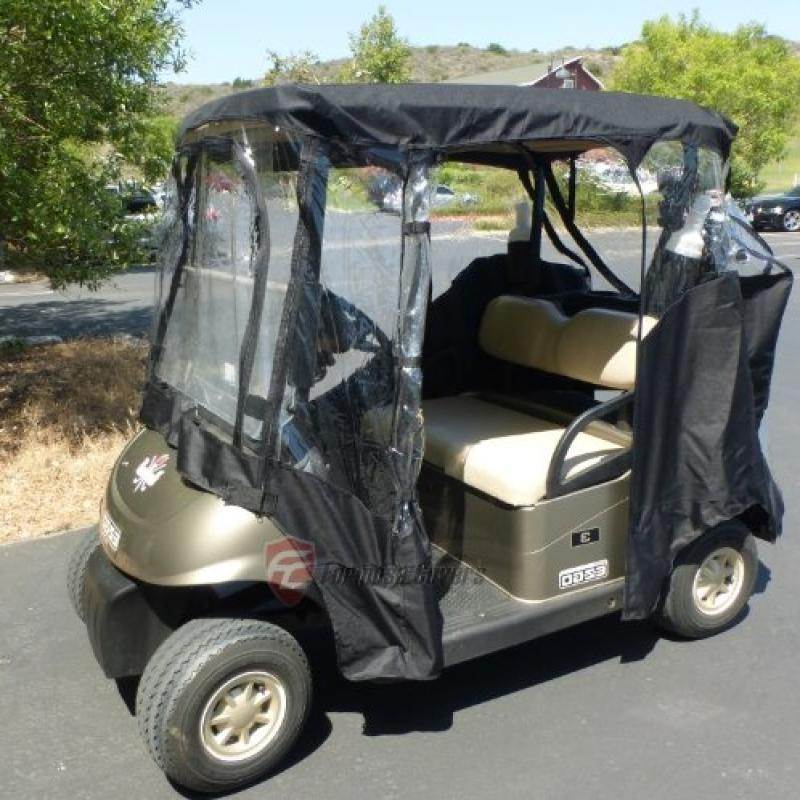Formosa Covers Black Golf Cart Driving Enclosure 2 Seater Heavy duty, fits E Z GO, Club Car and Yamaha G model - All Weather