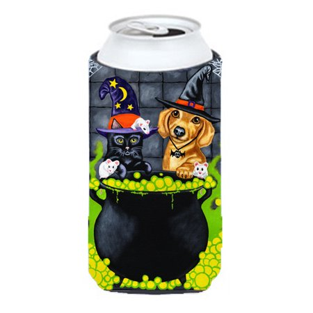 Brewing up Trouble Halloween Dachshund Tall Boy Beverage Insulator Hugger AMB1434TBC - Dachshund Halloween