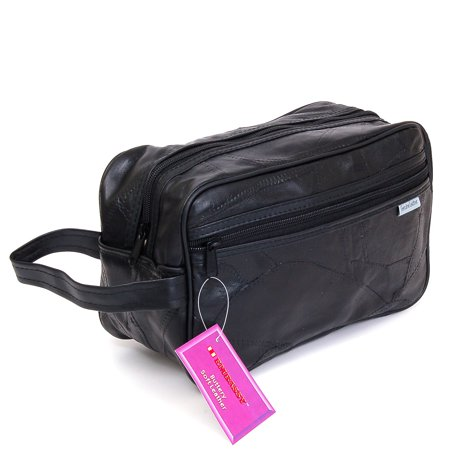 New Leather Toiletry Bag Shaving Kit Travel Case Tote Make Up Zippered Vanity