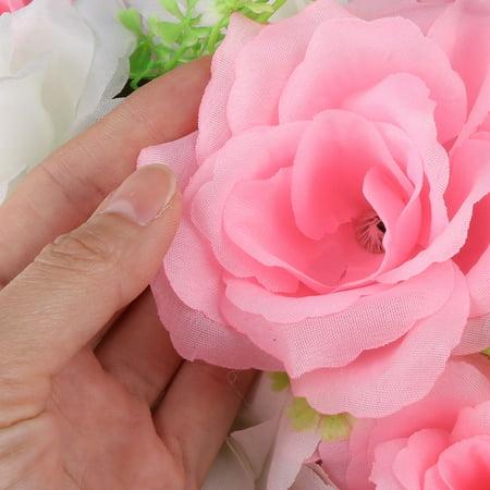 Wedding Fabric DIY Wall Arch Hanging Artificial Flower Garland Decor Pink White - image 2 de 4