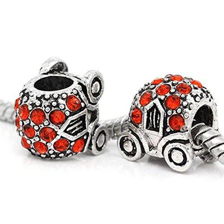 - Cinderella's Pumpkin Carriage Charm W/crystals Bead For Snake Chain Bracelet