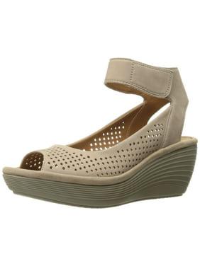 Clarks 26124825: Women's Reedly Salene Sand Nubuck Wedge Sandal (5.5 B(M) US Women)
