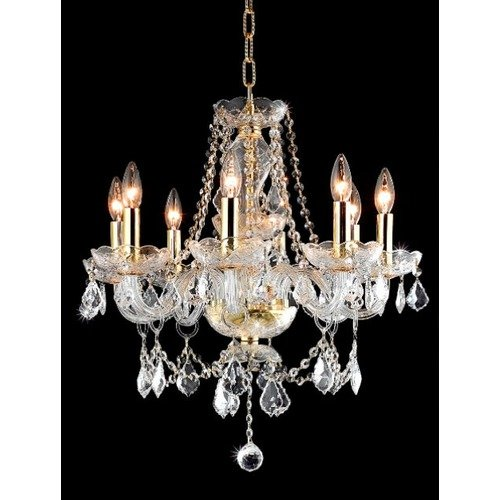 Princeton Clear Crystal Chandelier w 8 Lights in Chrome