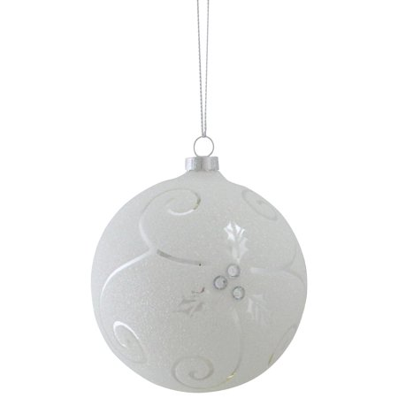 "Melrose 3.75"" Glittering Holly Leaf Swirl Ball Christmas Ornament - White/Shiny Silver"