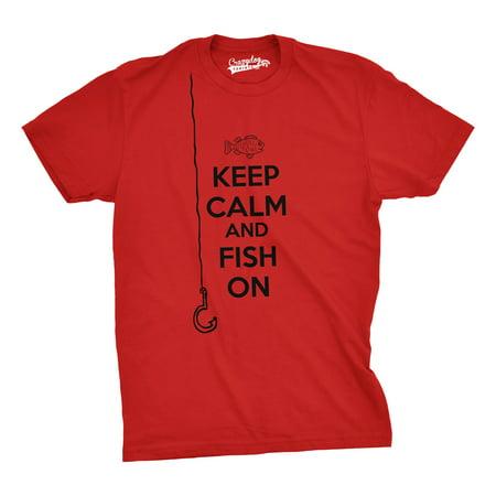 Mens Keep Calm And Fish On T Shirt Funny Tshirt Fisherman Tee Going - Fisher Man